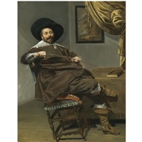 portrait of willem van heythuysen, seated on a chair and holding a hunting crop by frans hals the elder