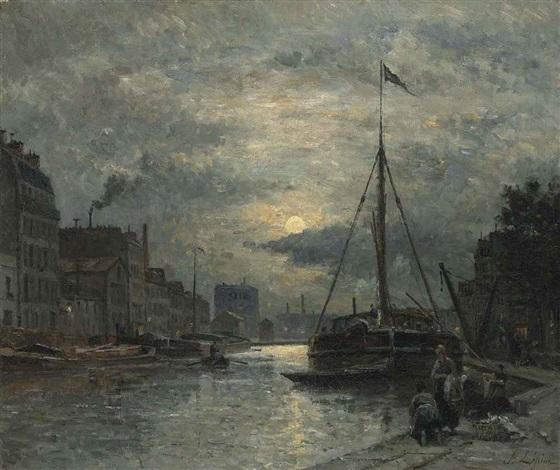 le canal saint martin au clair de lune by stanislas lépine