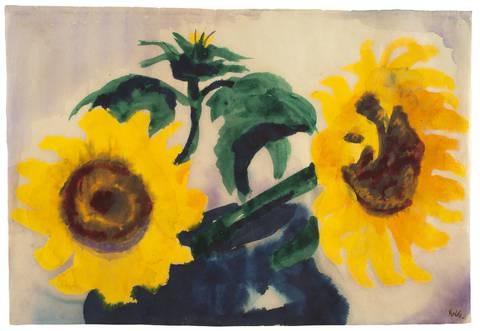 zwei sonnenblumen in einer blauen vase by emil nolde