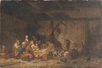 le repas à l'intérieur d'une ferme by jacques-albert senave