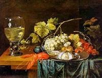 stilleben mit hummer, römer, muscheln und früchten by cornelis de bryer