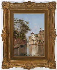 a quiet canal in venice by antonio maría de reyna manescau