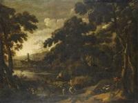 payasage de riviere anime de berger et de ramasseurs de fagots by johannes (jan) glauber