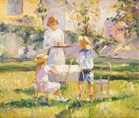 mère et enfants au jardin by leonard