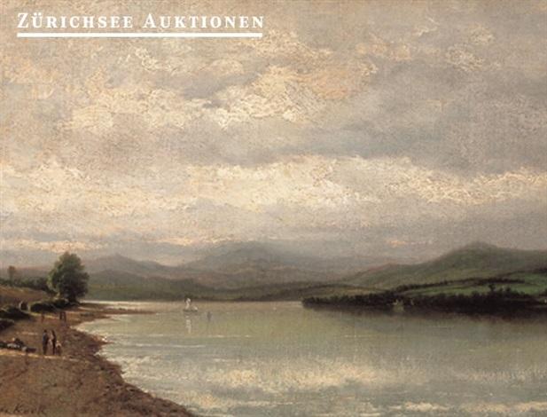 lakeside landscape by louis evrard conrad de kock