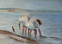 two girls playing on a beach by ernst hansen