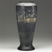 tall scenic vellum vase of woodlands by edward timothy hurley