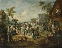 a fair with a quack pulling teeth in a village by egbert van heemskerck the younger