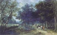 groupe de personnages avec chasseurs dans un paysage by louis gadbois