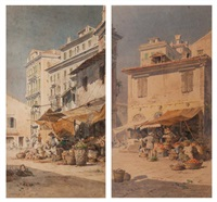 vue du marché de corfou (+ another; pair) by angelos giallina