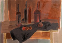 still life and wine by jan rauchwerger