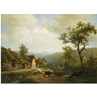 a hilly landscape with cattle going to the fields by eugene verboeckhoven and joseph alexander daiwalle