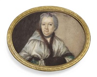 a lady, in fur-bordered light-green hooded cape over green dress with white cuffs, her hands in a brown fur muff, wearing a double pearl necklace by guillaume gabriel bouton