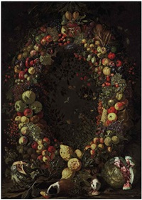 a garland of fruit with guinea pigs and watermelons by luca forte