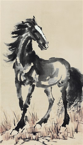秋风万里 standing horse amid autumn wind by xu beihong