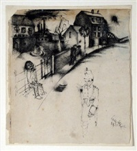deutsche strasse (+ another sketch, verso) by otto coester