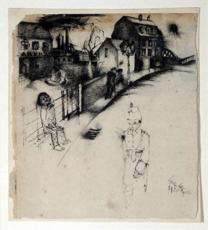 deutsche strasse another sketch verso by otto coester