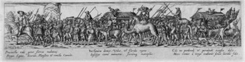 soldatenzug mit waffenwagen after beham by johann theodor de bry