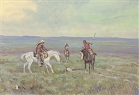 indian scouts on horseback by ace powell