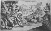 pastoral mit höfisch gekleidetem paar by johann christian jung
