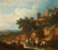 landscape with cattle by a ford by dutch school (18)