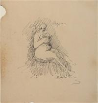 seated woman (regina); standing figure (2 works) by marino marini