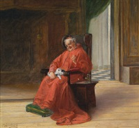 kardinal mit einem kätzchen by adolf humborg