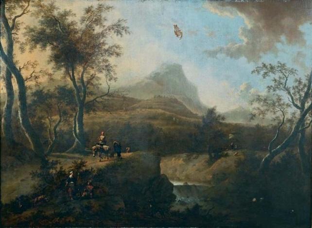 paysage de la campagne italienne avec pâtres et villageois by frederick de moucheron