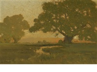 summer sun at the horizon by charles partridge adams