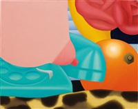 preliminary painting for tit and telephone by tom wesselmann