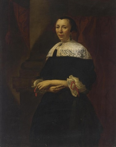 a portrait of a lady standing three quarter length wearing a black dress with a white lace collar and lace cuffs with red ribbons by christoffel pierson