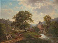 a landscape with a gothic church by wenzel kroupa