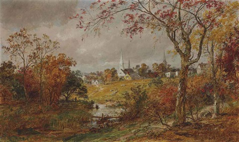 a glimpse of the village by jasper francis cropsey