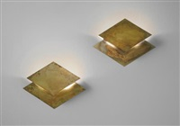 pair of rombo wall lights by gabriella crespi