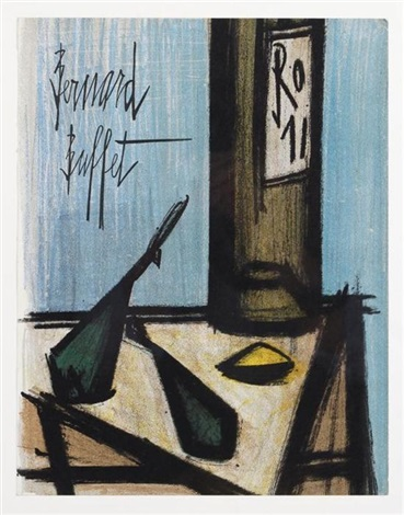 naturaleza muerta con botella copa y cerezas 1968 2 works by bernard buffet