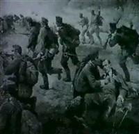 heldentod des leutnants herbert conrad von hotzendorf    (15.dragoner-regiment) bei derreiterschlacht von rawanuska by rudolf august hoeger