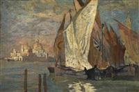 segelboote in der lagune by rudolf hellwag