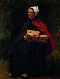 peasant woman carrying firewood by jozef israëls