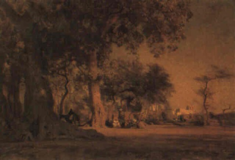 an arab encampment outside a village by léon adolphe auguste belly