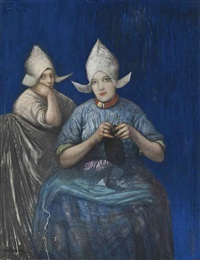 two dutch girls knitting by nico jungmann