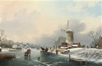a frozen river landscape by a. de groote