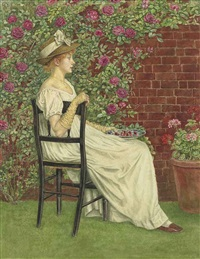 a young girl seated in a chair facing right, beneath a bower of roses, a bowl of cherries in her hand by kate greenaway