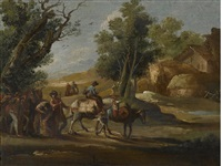 a landscape with travellers and a landscape with soldiers (pair) by giuseppe bernardino bison