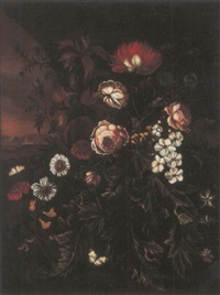 a carnation, roses, cornflowers, daisies and other flowers with butterflies, an italianate landscape beyond by maria withoos