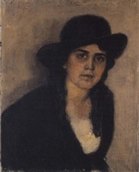 portrait of a young lady with a hat by nicolas lytras