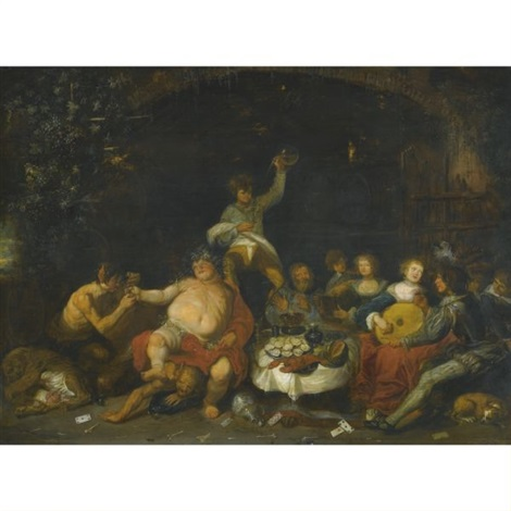 a bacchanal in a grotto by simon de vos