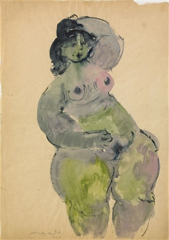 nude model in hat by endre nemes