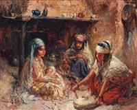 scène familiale autour de l'âtre by edouard verschaffelt