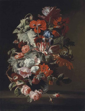 opium poppies an iris tulips a sunflower roses and other flowers in a glass vase on a ledge by simon pietersz verelst
