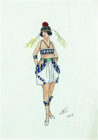 projet de costume (femme coiffée de mimosa) by igor sokoloff